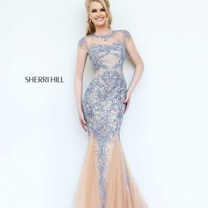 sherri hill mermaid evening gown, 1939 blue/nude